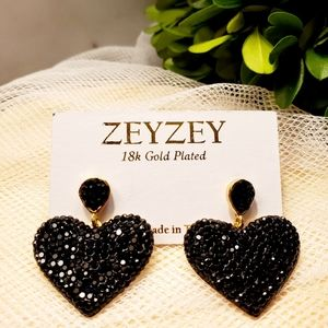 ZeyZey 18k Gold Plated Black Heart Dangle Earrings